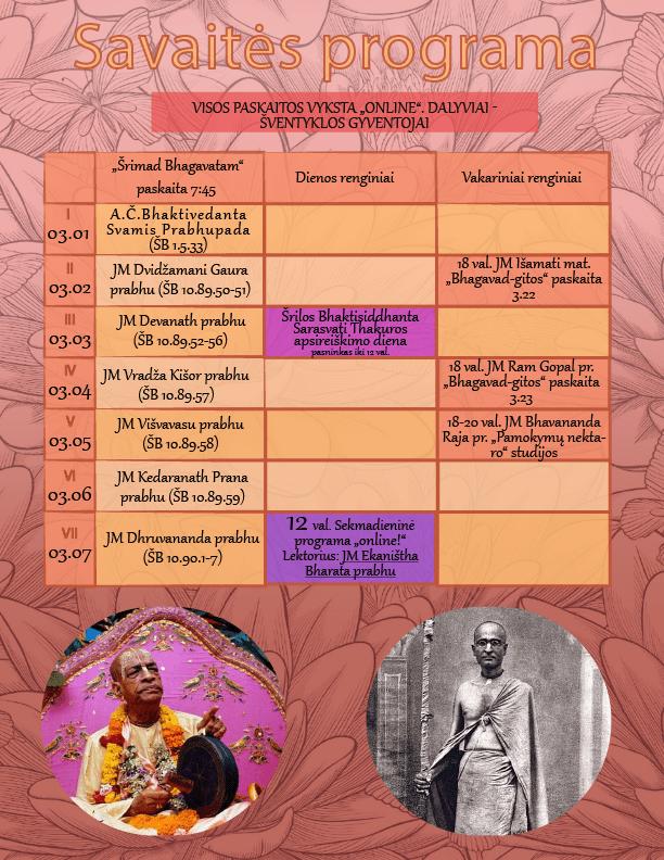 Nitai Gaura Candra šventyklos savaitės programa