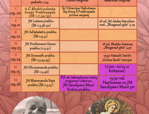 Savaitės programa 09.20 – 09.26