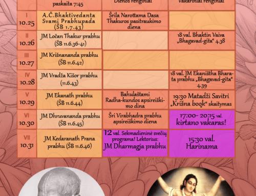 Savaitės programa 10.25-10.31